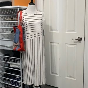 Ann Taylor white Navy Striped Cotton Stretch Dress